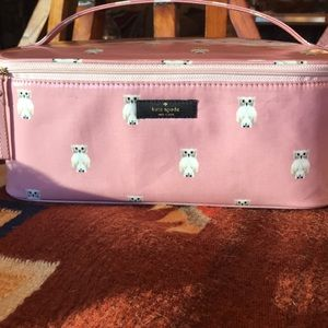 Kate spade lg owl cosmetic bag nwot 11x5 gorgeous